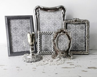 French Victorian Style Frame set. SilverPlated Ornate Elegant Collection. Tabletop Mixed Set of 5 Frames