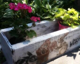 Bunny Patch Planter Box. Rustic Shabby Cottage White Wood box. Decoupage Stenciled Shabby Quaint Cottage Decor