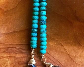 Long Turquoise Earrings, Turquoise Dangle Earrings, Geometric Earrings, Smoky Topaz Teardrop, Dangle Earring, Dramatic Colorful Earring