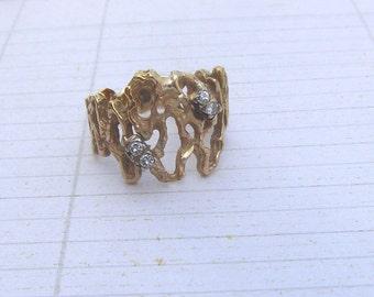 Vintage 14K Gold Brutalist Ring, Brutalist Diamond Ring, Vintage Brutalist Artisan Ring