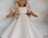 18 inch doll clothes - White Princess Gown handmade to fit the American Girl Doll