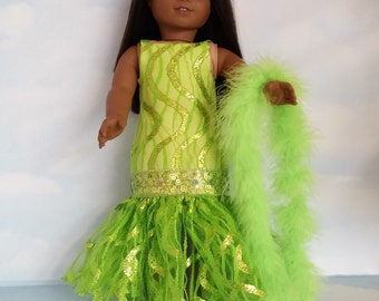 18 inch doll clothes - #231 Lime Green Dropwaist Gown and Boa made to fit the American Girl Doll