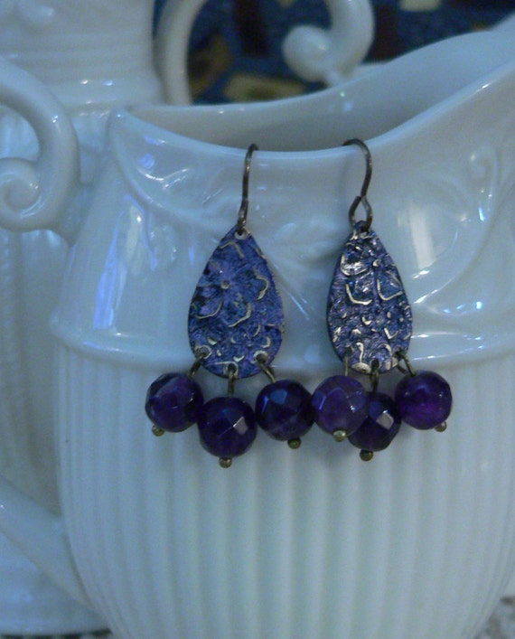 amethyst earring purple earring violet earring by sallysbeadsnc. Black Bedroom Furniture Sets. Home Design Ideas