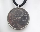 Caribou Coin Necklace, Canadian 25 Cents, Coin Pendant, Men's Necklace, Women's Necklace, 2006
