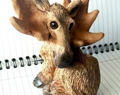Vintage Stone Critters Moose figurine 1980s Collectible resin brown wilderness