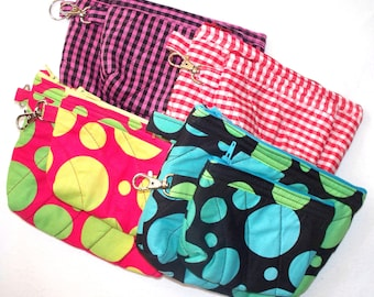 Polka Dots or Check Plaid Quilted Coin Purse or Cosmetic Bag,Quilted Inside/Out,Key Clip or Ring,Handcrafted,Your Choice Blue,Green,Red