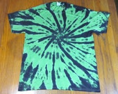 Tie Dye Unisex Size Large Green and Black Swirl