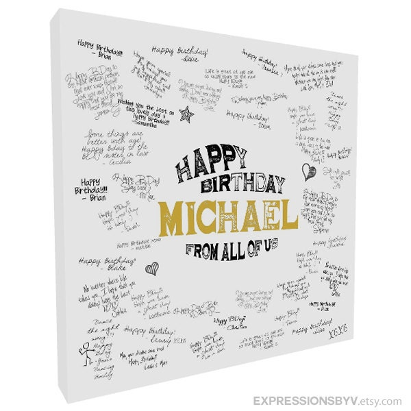 Guest Book Printing: Guest Book Canvas Print Guest Book Alternative Birthday