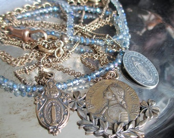 saints - joan of arc necklace virgin mary medals charms pendant multi strand layer light blue glass beads bronze chain catholic religious