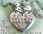 Set of 3 Best Friends Forever Necklaces, BFF, Bestie, Friendship, Girls, Teens, Sisters Gift, Personalized, Initial, Letter, Birthday Gift