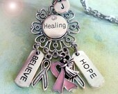 Healing Breast Cancer Necklace, Angel of Hope, Believe, Get Well, Encouragement Gift, Personalized, Initial, Letter Charm, Birthday Gift
