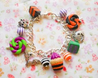 Halloween Charm Bracelet, Halloween Bracelet, Charm Bracelet, Goth Bracelet, Lollipop, Candy, Cupcake, Halloween Candy, Cake, Halloween