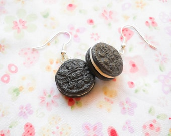 Mini Oreo Cookie Earrings, Cookie Earrings, Oreo Earrings, Food Earrings, Polymer Clay, Miniature Food, Cute Earrings, Kawaii, Sweet Lolita
