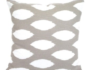 Taupe White Decorative Throw Pillow Covers, Cushions, Taupe Ecru White Ikat Chipper, Pillows Couch Bed Sofa Taupe Cushions One ALL SIZES