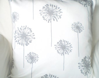Gray White Dandelion Pillow Cover, Decorative Throw Pillow, Cushion Covers, Grey White Large Dandelion, Sofa Couch, One or More ALL SIZES
