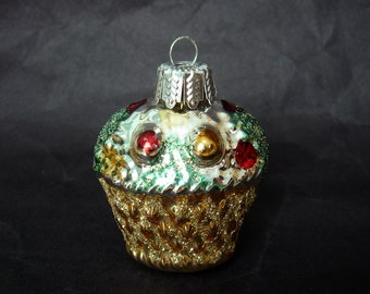 Vintage Glass Christmas Tree Ornament - Basket - gold - silver- red - green - mica