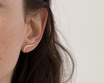 Calligraphic Ear Climber. Minimalist Earrings. Ear Lobe Pin.