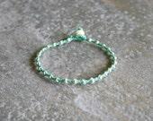 Silver and Sea Foam Green Single Wrap Bracelet Perfect Beach Jewelry