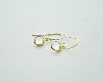 Tiny Crystal Earrings - clear round swarovski crystal gem & gold filled - simple wedding jewelry or for everyday - adenandclaire
