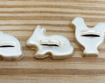Vintage 50s-60s Miniature Cookie Cutters Cat Rooster Bunny Retro Mid Century