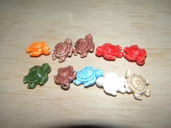 10 Porcelain Turtle Beads