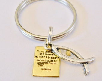 Mustard Seed Gift - Faith the Size of a Mustard Seed Keychain - Religious Christian Jewelry, Sign of the Fish, Jesus Bible Matthew 17:20