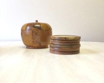 Wooden apple trinket pot, wooden trinket box, wooden set coasters, wooden apple trinket bowl, apple shaped storage pot, wood coasters set