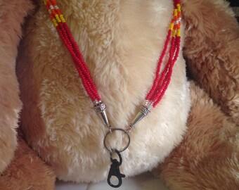 Native American Beaded Lanyard - Red