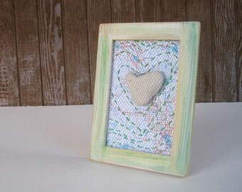 Altered Map Art - Northern Ontario Map Art with Heart Stone - Mixed Media Collage