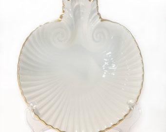 Lenox China Aegean Dish Ivory Trinket Dish Sea Shell Shape 24K Gold Trim