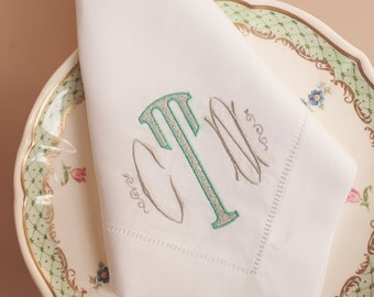 Monogrammed Hemstitched White Linen Dinner Napkins