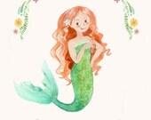 Redhead Mermaid - CUSTOM NAME - Mermaid with Red Hair - Personalized Mermaid Illustration Print - Kids Wall Art