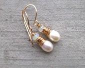 White Pearl and Opal Earrings, Freshwater Pearl, Ethiopian Opal, Gold Drop Earrings, Tear Drop Pearl, Wedding Jewelry, Wedding Jewelry