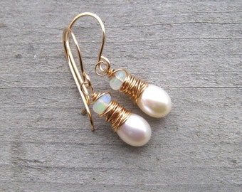 White Pearl Earrings With Opals Wire Wrapped In 14 K gold Fill, Bridal Earrings, Ethiopian Opal, Gold Pearl Earrings, Freshwater Pearls
