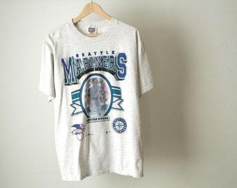 vintage EDGAR Martinez 90s SEATTLE MARINERS heather grey t-shirt mlb vintage baseball