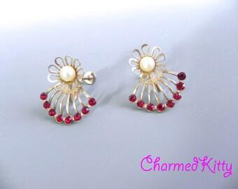 Vintage 50s Red Rhinestone Earrings - 1950s Atomic pearl and ruby Earrings - on sale