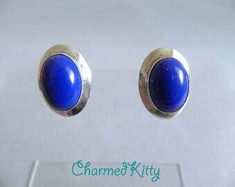 Vintage Modern Navajo Sterling and Lapis Earrings , Blue gemstone Sterling Signed RW Pierced Earrings