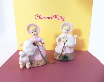 Vintage 50s Lady and Poodle Figurines