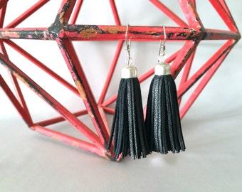 leather tassel earrings | mini tassels | black leather earrings | drop silver earrings | black tassels | leather jewelry | modern earrings