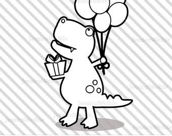 Happy Birthday Dinosaur Cute Digital Stamp, T-Rex Dinosaur Blackline, Birthday Dinosaur Black and White Outline, Line Art, Illustration