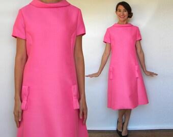 60s Bubblegum Pink Dress | Silk Wool Evening Party Dress, Medium