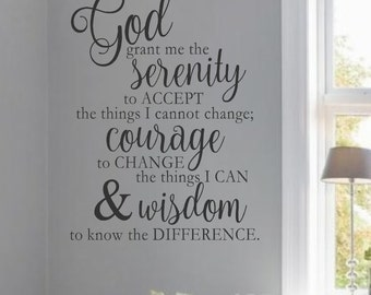 Serenity Prayer-#1- Vinyl Wall Decal - Home Decor - Words for your wall- Quotes