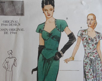 Vogue 2858 Sewing Pattern Semi fitted, A-line Dress. evening length. 1944 design size 6,8,10