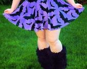Purple Batty Skater Skirt