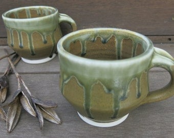 Rustic Brown and Drippy Green Ceramic Coffee Mug Coffee Cup Soup Mug Tea Cup Drinkware, Handmade Artisan Pottery by Licia Lucas Pfadt