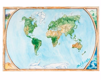 Roam the Globe Animal Map - Fine Art Giclee Print, Illustrated Map, Travel Gift - MEDIUM