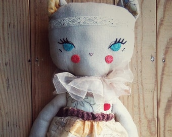 Kitten -handmade fabric doll- cloth doll- OOAK