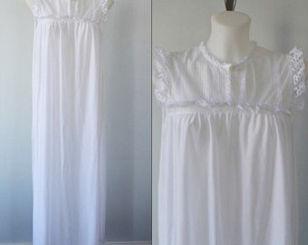 Vintage White Nightgown, 1980s Nightgown, Nightgown, White Nightgown, Vintage Lingerie