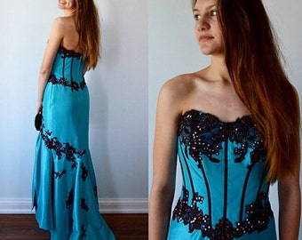 Vintage Evening Gown, Wedding, Formal Gown, BridesMaid Dress, Pageant Dress, 1990s Dress