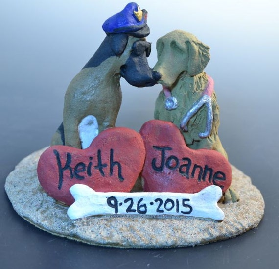 Custom Dog Wedding Cake Toppers-Valentines Day Gift, Wedding, Engagement or Couples
